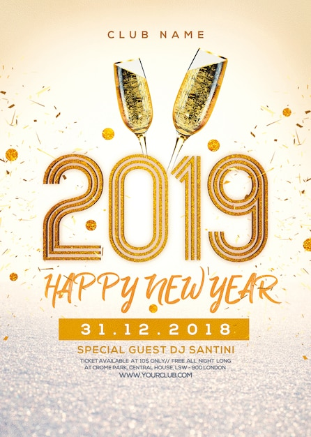 New year party poster ready to print Premium Psd