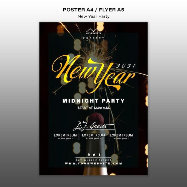 Modello di poster festa di capodanno Psd Gratuite