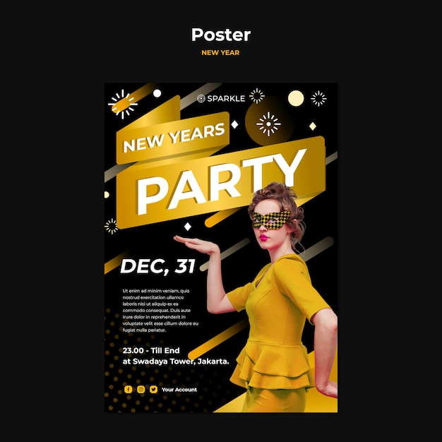 New year party template poster Free Psd