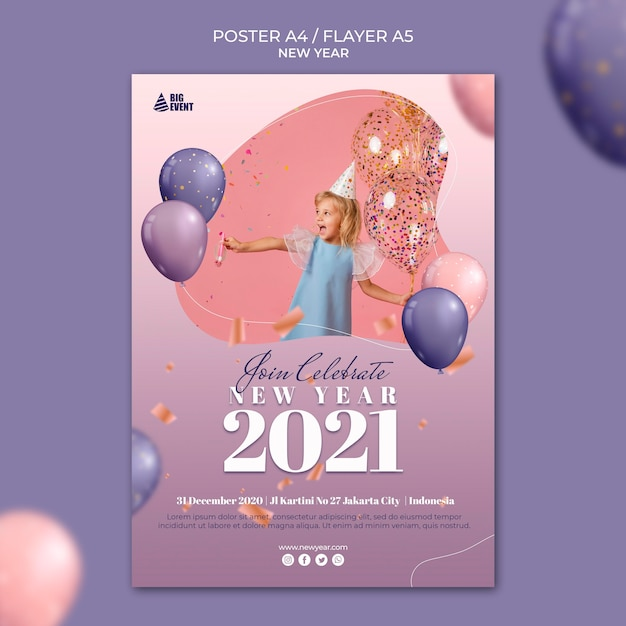 New year poster template Premium Psd