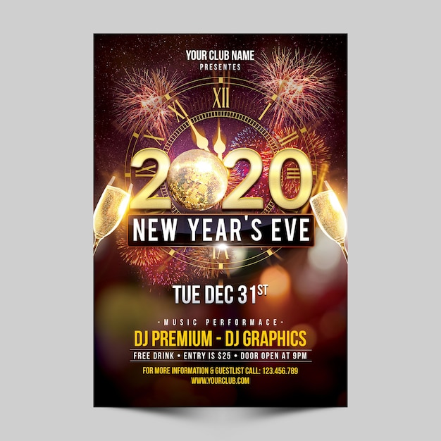 New year's eve party flyer Premium Psd