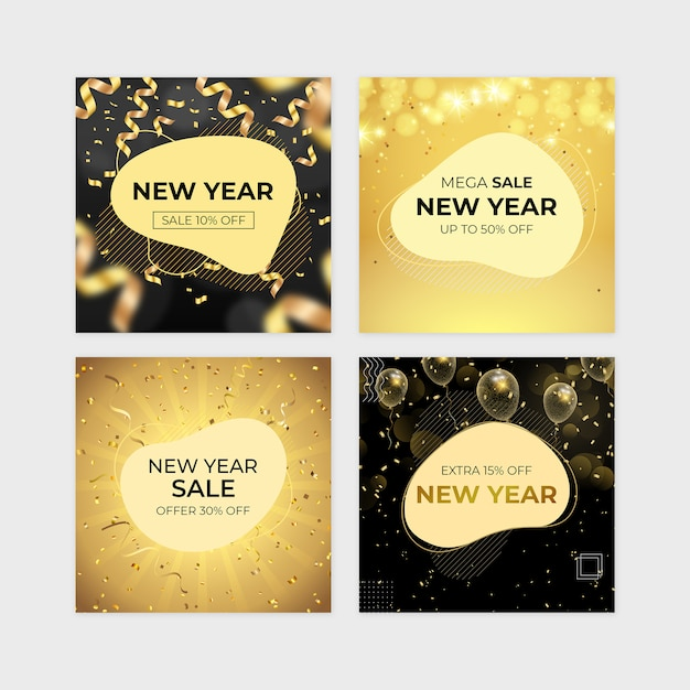 New year sale banner set Premium Psd