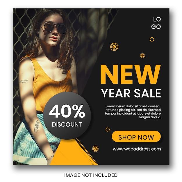 New year sale banner for social media Premium Psd