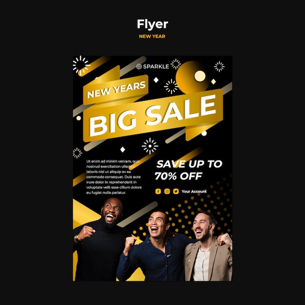 New year sale flyer template Free Psd