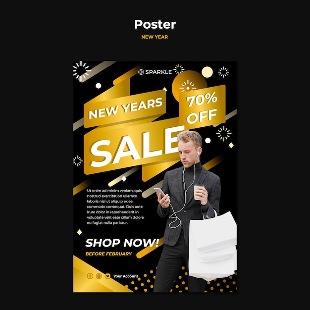 New year sale poster template Free Psd