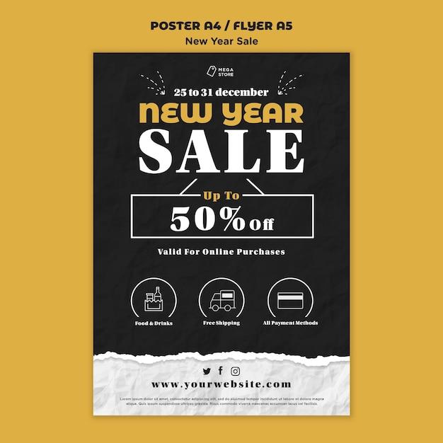 Modello di poster di vendita di capodanno Psd Gratuite
