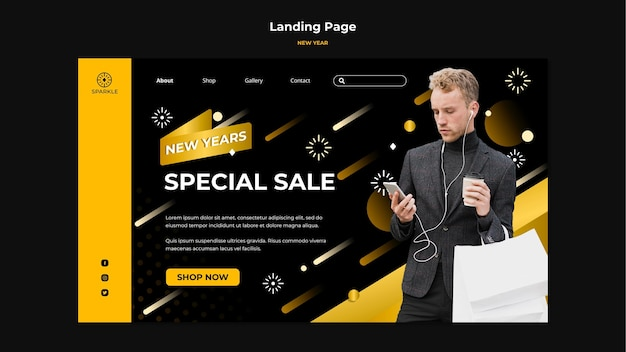New year sale template landing page Free Psd