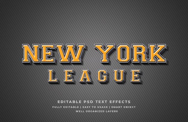 New york league 3d text style effect Premium Psd