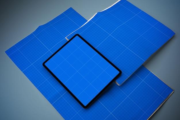 신문 및 태블릿 모형 프리미엄 PSD 파일