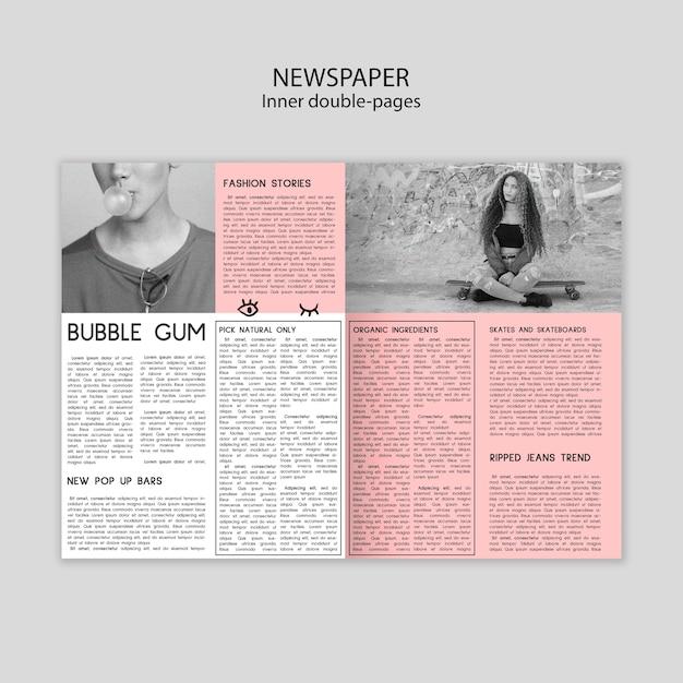 Газетный внутренний шаблон двойных страниц с картинками Бесплатные Psd