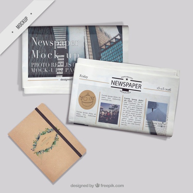 Newspaper mockups with a vitntage notebook Free Psd