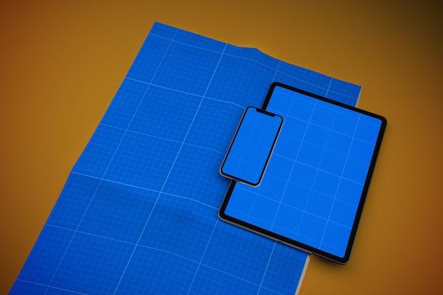 신문, 스마트 폰 및 태블릿 모형 프리미엄 PSD 파일