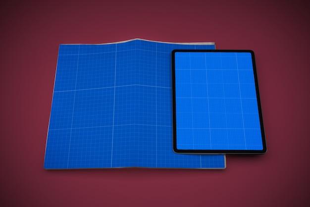 Newspaper and tablet mockup Premium Psd