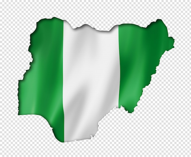 Nigerian flag map Premium Psd