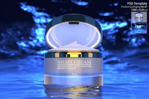 Night cream skin care product isolate on dark blue water background 3d render Premium Psd