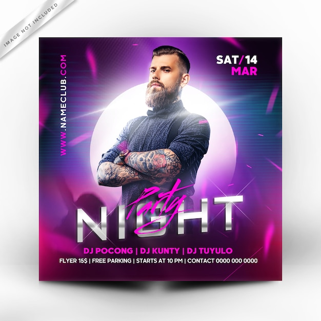 Night party flyer or poster template Premium Psd