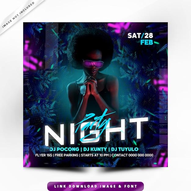 Плакат night party premium Premium Psd