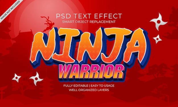 Эффект текста воина ниндзя Premium Psd