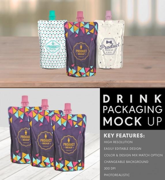 飲み物のパッケージデザインをモックアップ 無料 Psd
