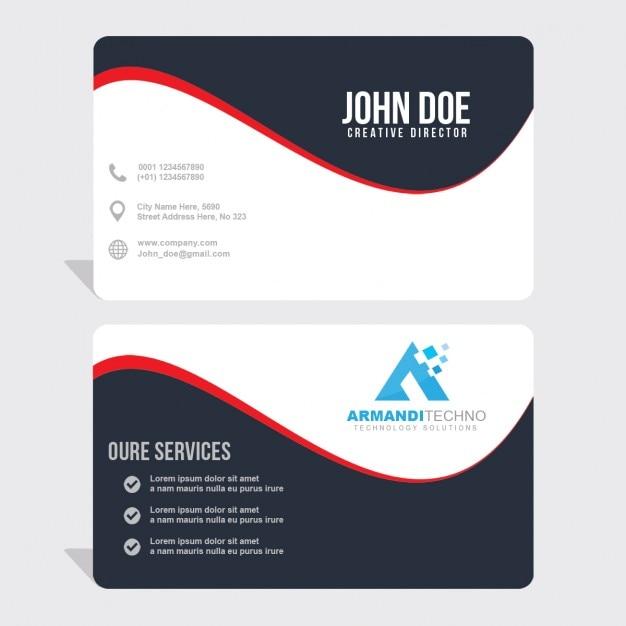 赤い波線のビジネスカード 無料 Psd