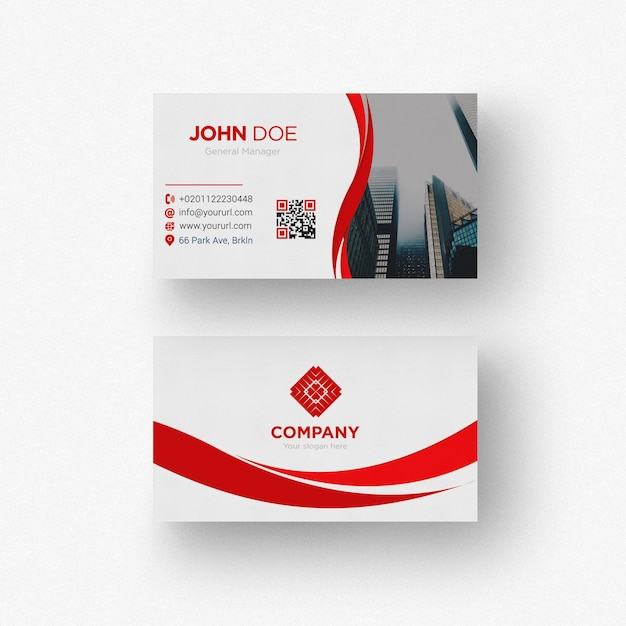 Красная и белая визитная карточка Бесплатные Psd