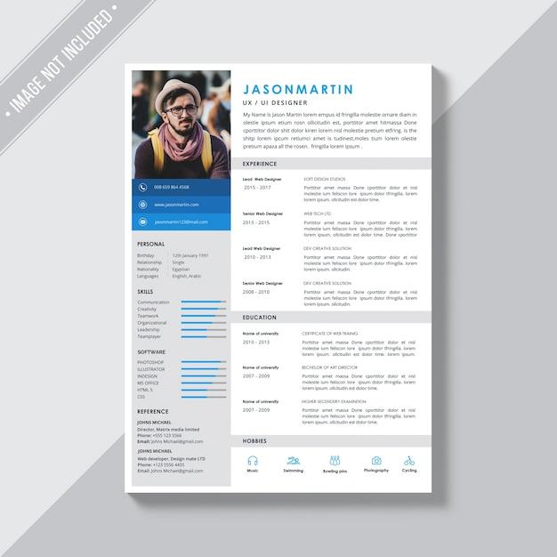 青とグレーの詳細を持つ白のcvテンプレート 無料 Psd