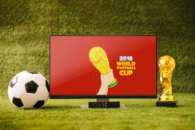 テレビで世界のサッカーカップモックアップ 無料 Psd