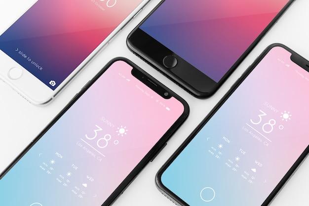 さまざまなスマートフォンのモックアップ 無料 Psd