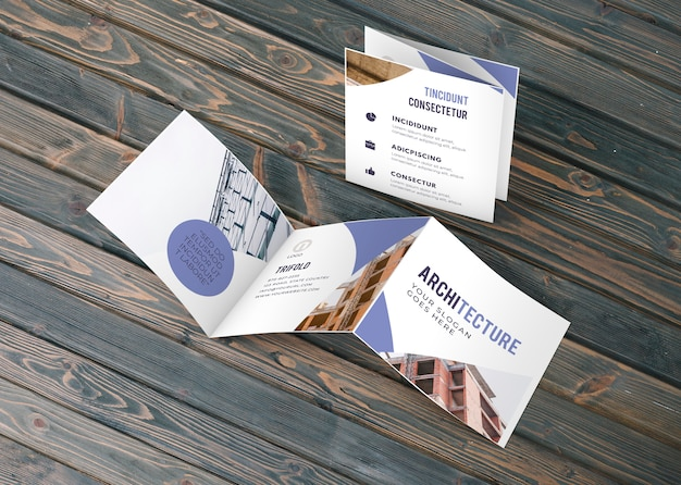 三つ折りビジネスパンフレットモックアップ 無料 Psd