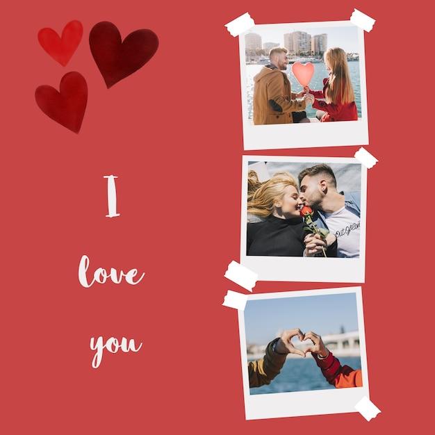 バレンタインデーインスタント写真モックアップ 無料 Psd