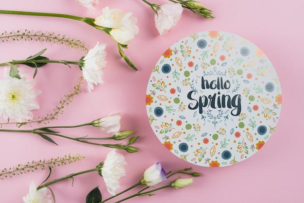 春の花と丸い紙テンプレート 無料 Psd