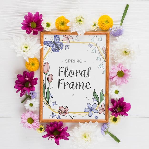 春の花のフレーム構成 無料 Psd