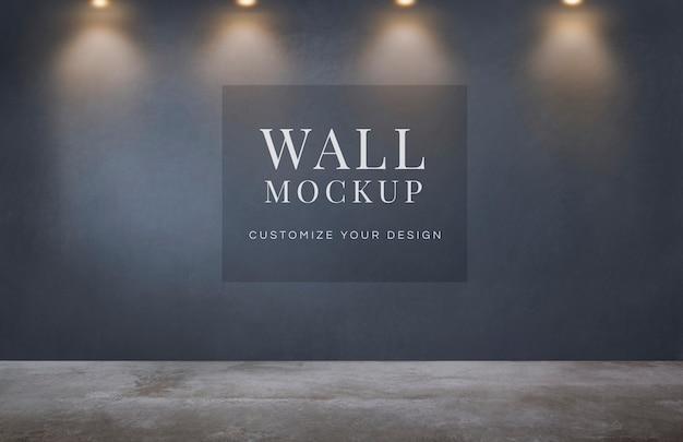 暗い灰色の壁のモックアップと空の部屋 無料 Psd
