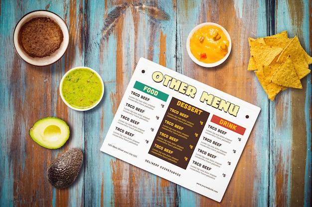 メキシコ料理レストランメニューモックアップ 無料 Psd