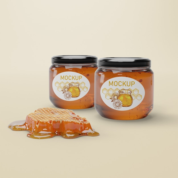 Nock-up jars with natural honey Free Psd