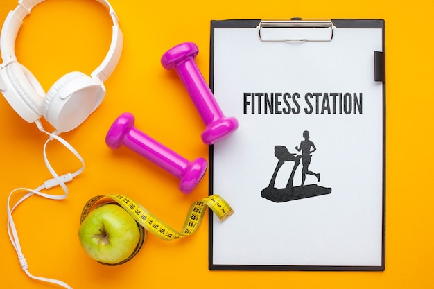 Notebook and fitness class equipment Free Psd