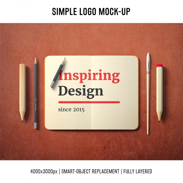 Notebook mock up template Free Psd