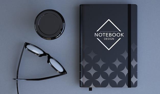 Notebook mockup 3d rendering top view Premium Psd