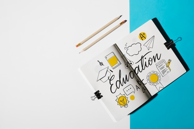 Notebook mockup for education concept Free Psd