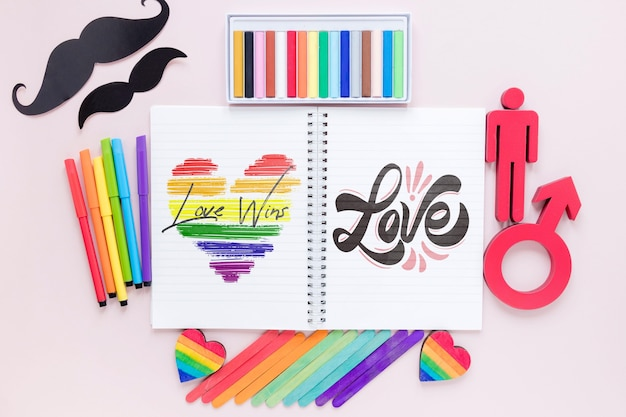 Notebook and mustache Free Psd