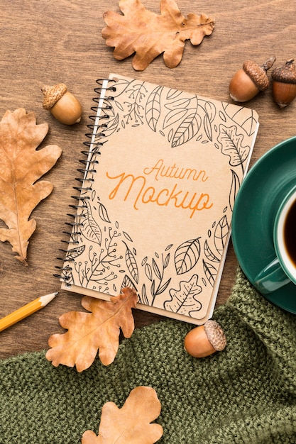 Notebook with cup of coffee mock-up Free Psd