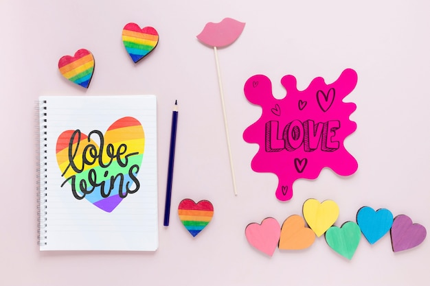 Notebook with message for pride day Free Psd