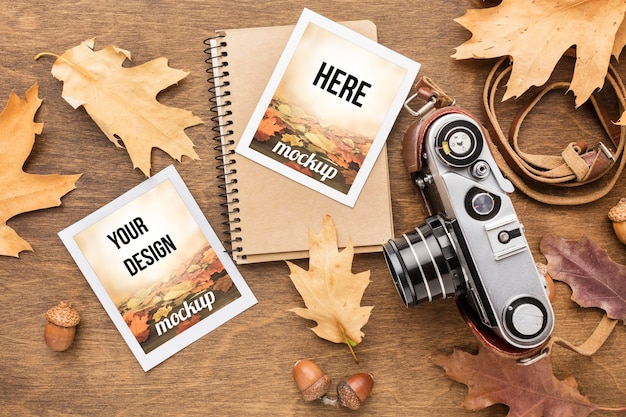 Notebook with photos and camera Free Psd