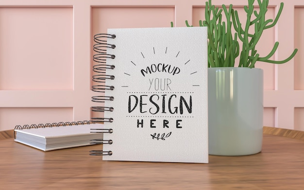 Notebook with work space mockup Free Psd