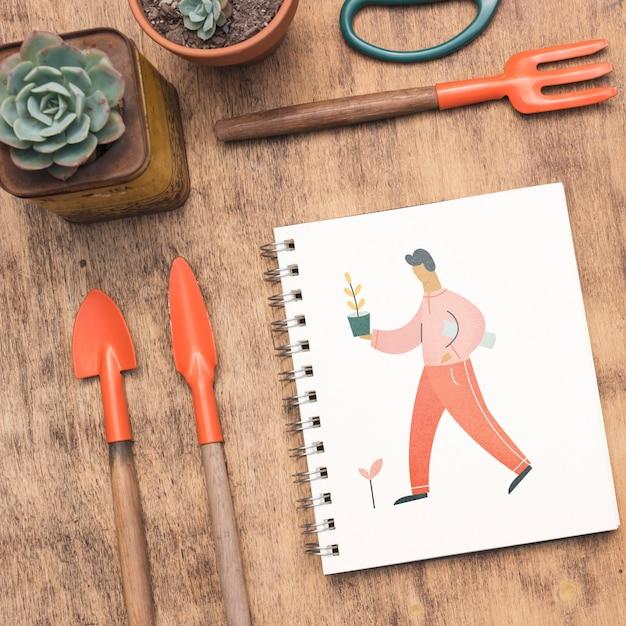 Блокнот макет с концепцией садоводства Бесплатные Psd