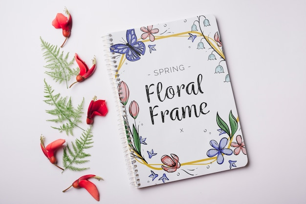 Notepad template for spring with flowers Free Psd