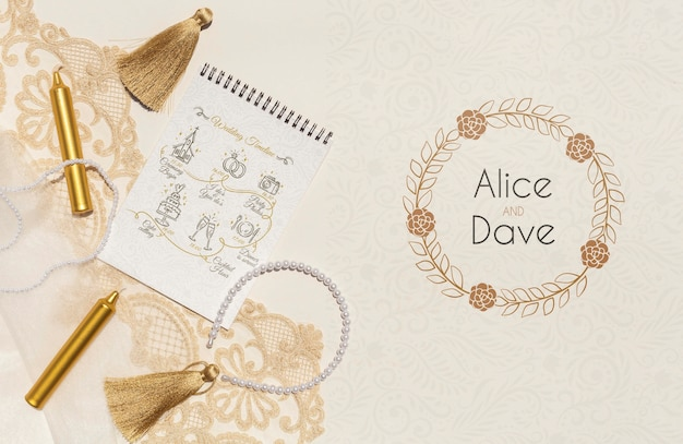 Notepad with wedding ideas top view Free Psd