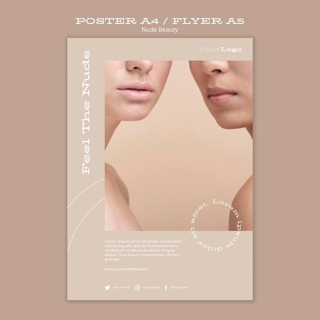 Nude beauty poster template Free Psd