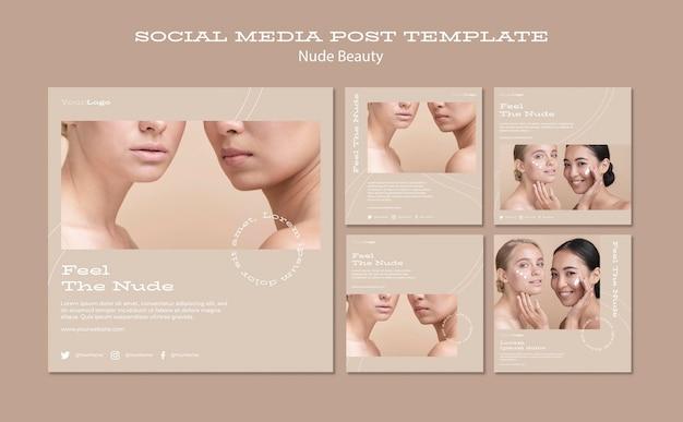 Nude beauty social media post template Premium Psd