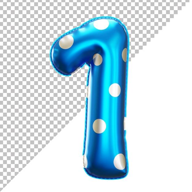 3d 스타일의 숫자 1 폴카 도트 파티 호일 풍선 프리미엄 PSD 파일